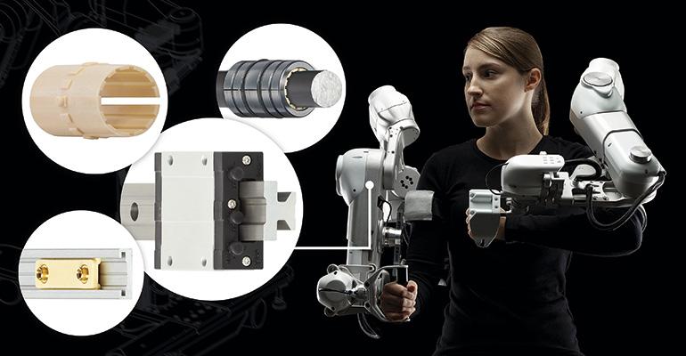 Exoesqueleto adaptado en segundos con los cojinetes de fricción sin lubricación de Igus