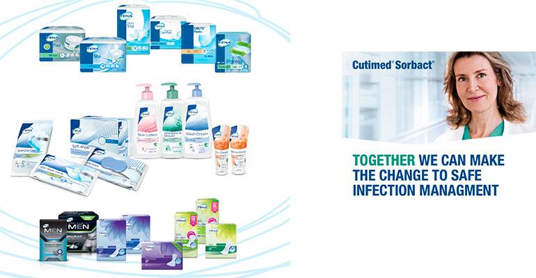 Bodegón de productos y soluciones de higiene de Essity