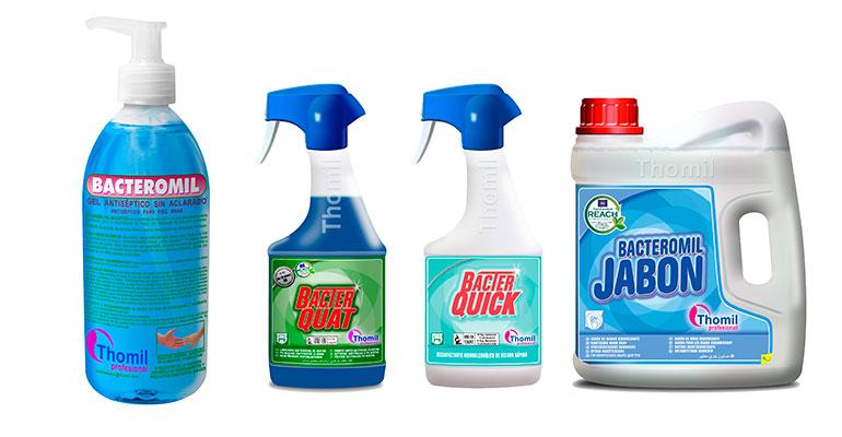 Produtos básicos para la desinfección e higiene de Thomil