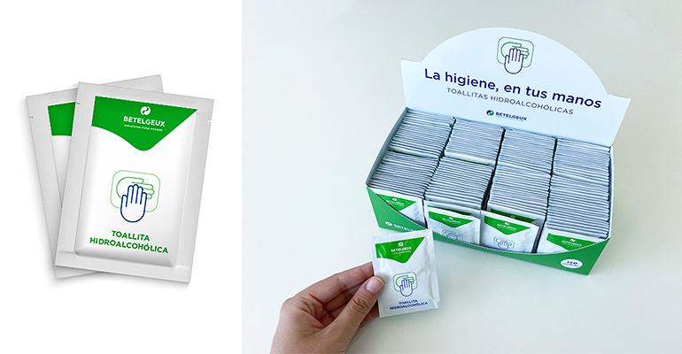 Betelgeux-Christeyns lanza las toallitas hidroalcohólicas para la higiene de manos