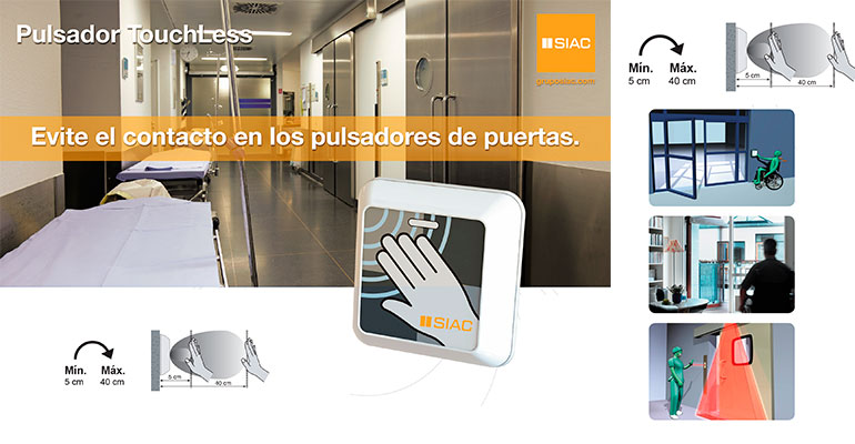 Pulsador de activación higienico y sin contacto de puertas automáticas